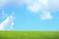 Green grass with sky and cloud blue white great for your nature background Stock Photos