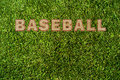 Green grass texture and word baseball Royalty Free Stock Photos
