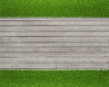 Green grass on wood floor background realistic Stock Photography