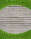Green grass on wood floor background realistic Royalty Free Stock Photo