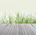 Green grass and wood floor fresh spring Stock Photo
