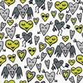 Green gray seamless pattern with funny hearts Stock Image
