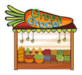 A green grocer shop illustration of on white background Royalty Free Stock Photos