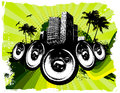 Green grunge beach speakers background Royalty Free Stock Photography