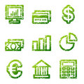 Green grunge finance icons Royalty Free Stock Photography