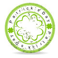 Green grunge rubber stamp with clover Stock Images