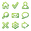 Green grunge web icons Royalty Free Stock Photography
