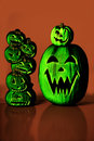 Green Halloween Jack O Lanterns Royalty Free Stock Photo