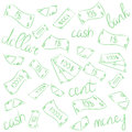 Green Hand Drawn Banknotes. Doodle Money Rain. Scribble Drawings of Cash. Sketch Style. Royalty Free Stock Photo