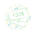Green Hand Drawn Banknotes and Golden Coins. Scribble Drawings of Cash and Arrows Arranged in a Circle. Sketch Style. Royalty Free Stock Photo