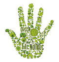 Green hand with environmental icons drawn in this illustration is layered for easy manipulation and custom coloring Stock Image