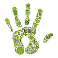 Green hand with environmental icons trendy drawn in this illustration is layered for easy manipulation and custom coloring Royalty Free Stock Photography