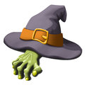 Green hand and hat witch cartoon illustration of Stock Photos
