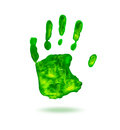 Green handprint on white background Royalty Free Stock Photo