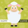 Green happy easter card with lamb a greeting a cute on background eps file available Stock Photos