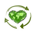 Green heart map world in shape of and recycle symbol isolated on white background vector illustration Stock Image