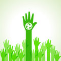 Green helping hand background with recycle icon stock vector Royalty Free Stock Photo