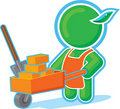 Green Hero with Cart of Bricks Stock Image