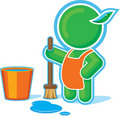 Green Hero Cleaning with Bucket of Water Stock Photography
