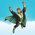 Green hero sky generic superhero figure flying in the layered easy to edit see portfolio for similar images Royalty Free Stock Image