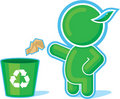 Green Hero throwing Garbage to the Recycle Contain Stock Image
