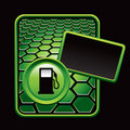 Green hexagon advertisement of a gas pump Stock Photography