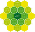 Green Hexagons Calendar 2011 Royalty Free Stock Image