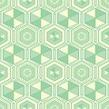 Green hexagons geometric vector seamless pattern.