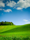 Green hill curving under blue sky filled clouds sunny day tuscany italy Stock Photos