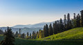 Green hills and mountains panoramic landscape Royalty Free Stock Photo