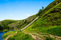 Green Hills, River Dove in Peak District National Park Royalty Free Stock Photo