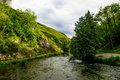 Green Hills, Stepping Stones near River Dove in Peak District Na Royalty Free Stock Photo