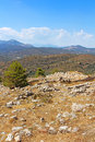 Green hills and valleys around the ruins of mycenae peloponnese greece Royalty Free Stock Image
