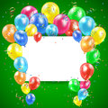 Green holiday background flying colored balloons on with card illustration Stock Photography