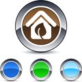 Green home round button. Royalty Free Stock Image