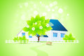 Green Home with Tree Stock Photo