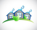 Green homes real estate symbol illustration design over a white background Stock Images