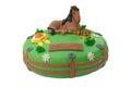 Green horse birthday cake