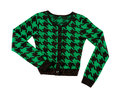 Green houndstooth check pullover isolated white background clipping path included Royalty Free Stock Photo