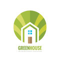 Green house building - vector logo concept illustration in flat style for presentation, booklet, website and other creative