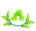 Green house icon leaves Royalty Free Stock Photography