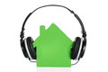 Green House Model With Headphone Royalty Free Stock Photo