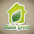 Green house over brown background vector illustration Royalty Free Stock Images
