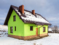 Green house in winter scenery Royalty Free Stock Photos