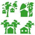 Green houses icons Royalty Free Stock Photography