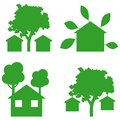 Green houses icons Royalty Free Stock Images