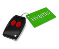Green hybrid car key d illustration Stock Photography