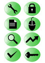 Green icon set web Стоковое Изображение