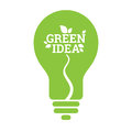 Green Idea Light Bulb Leaf Icon