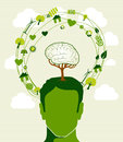 Green ideas tree head concept human brain icons recycling this illustration is layered for easy manipulation and custom coloring Royalty Free Stock Image